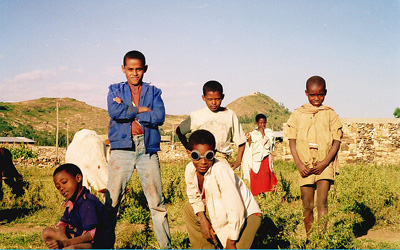 Ethopian boys in field